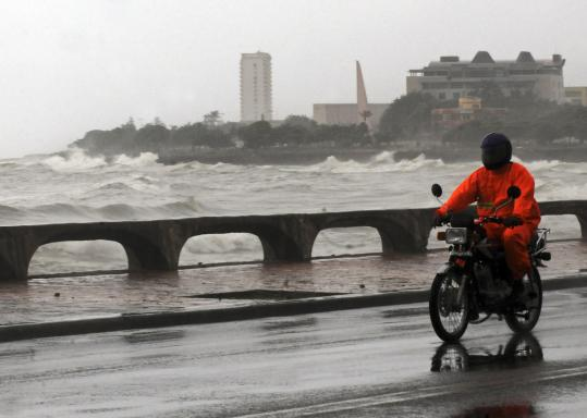 Tropical Storm Emily stirred up waves in Santo Domingo yesterday. The center of the storm brushed a corner of the Dominican Republic. It was expected to reach parts of Haiti today.