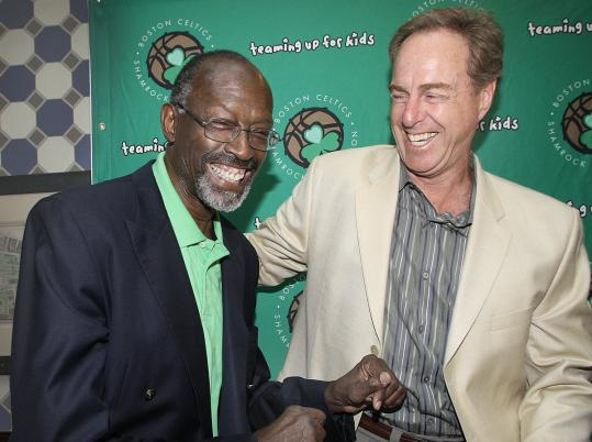 Celtics greats Thomas &#8220;Satch&#8217;&#8217; Sanders, left, and Dave Cowens.