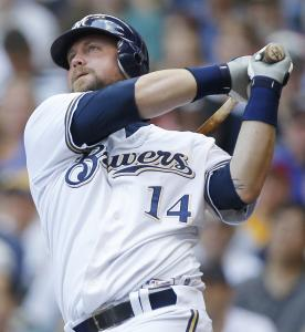 The Brewers' Casey McGehee belted three homers against St. Louis yesterday including this one in the third innning.
