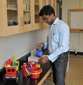 Deepak Jagannathan uses toys to mix concrete for some serious research in associate professor Krystyn Van Vliet's lab at MIT.