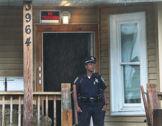 Police found three people with gunshot wounds inside an apartment at 3964 Washington St., Roslindale, early yesterday. Two victims, who neighbors said were mother and son, died.