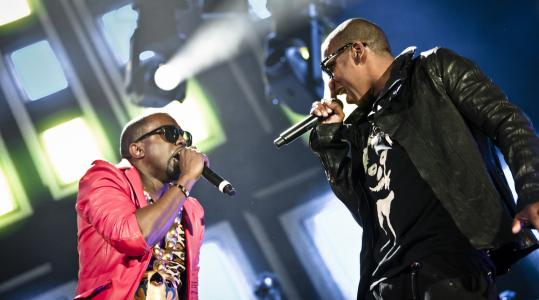 "Kanye West (left) and Jay-Z (pictured performing together last year in New York) have teamed up on the new album ""Watch the Throne.''"
