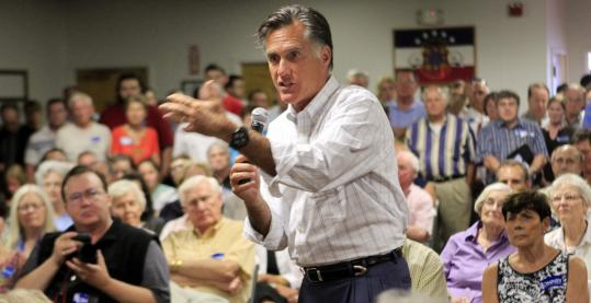 Republican presidential candidate Mitt Romney (shown speaking at a town hall meeting in Nashua) said yesterday there's nothing to question about a $1 million gift to his campaign.