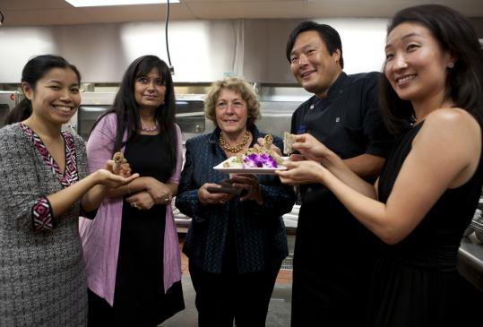 From left: Shery Dong, Manju Sheth, Angela Menino, Ming Tsai, and Audrey Paek at the food tasting event yesterday.