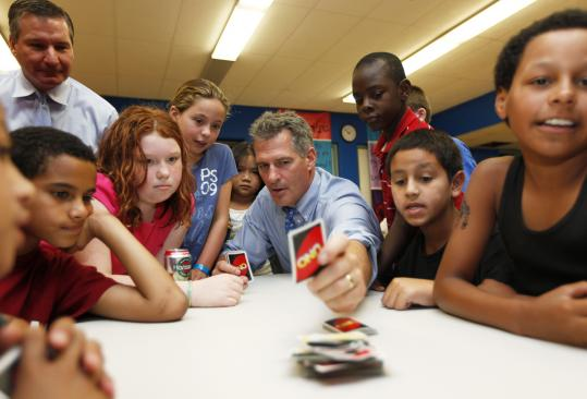 US Senator Scott Brown played Uno Monday in the Colonel Daniel Marr Clubhouse at The Boys and Girls Club of Dorchester.