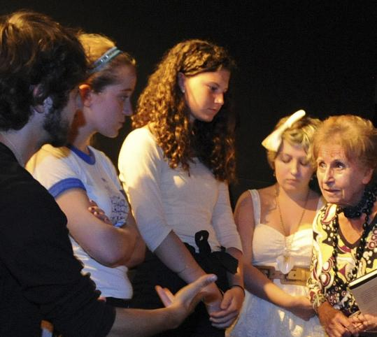 Holocaust survivor Zdenka Fantlova of London visited the play's cast at the Actors Studio in Newburyport.