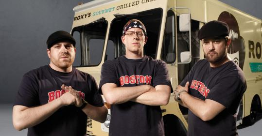 "James and Mike DiSabatino and Marc Melanson of Roxy's Grilled Cheese on ""The Great Food Truck Race.''"