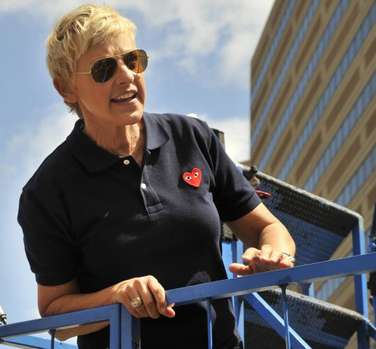 Ellen DeGeneres was in Boston yesterday to promote her switch to the 4 p.m. time slot on WCVB-TV, formerly held by Oprah Winfrey.
