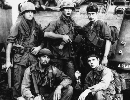 "Francesco Quinn (lower left) with other ""Platoon'' cast members (clockwise) Charlie Sheen, Tom Berenger, Willem Dafoe, and Kevin Dillon. The son of actor Anthony Quinn was born in Rome."