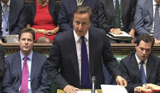 Prime Minister David Cameron of Britain spoke during an emergency session of Parliament in London yesterday.
