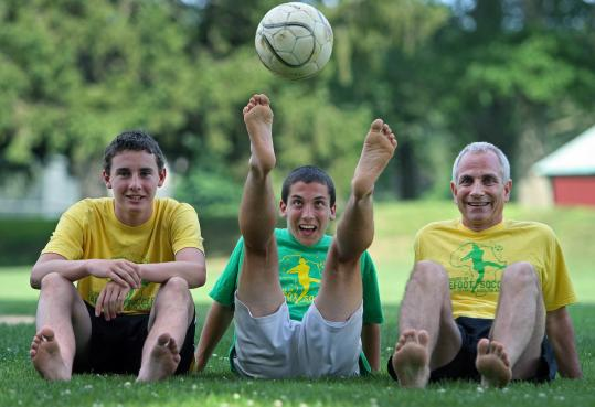 Wellesley residents (from left) Ian Speers, and Owen and Peter Diana are gearing up for Friday's 24-hour event raising money for Grassroot Soccer.
