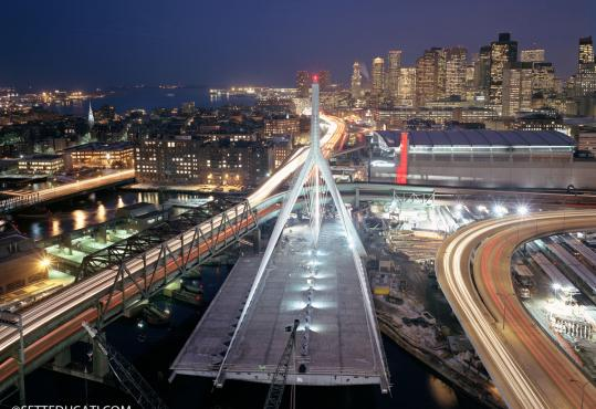 Stephen SetteDucati took this photo in 2001 from on top of the north tower of the not-yet-completed Zakim Bridge after a 20-minute climb.