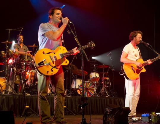 JAY CONNOR FOR THE BOSTON GLOBE From left: Guster's Brian Rosenworcel, Adam Gardner, and Ryan Miller at Bank of America Pavilion Friday.