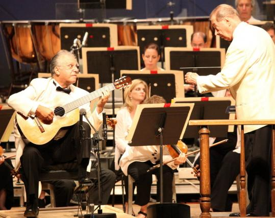 Guitarist Pepe Romero (left) and conductor Rafael Frübeck de Burgos at Tanglewood on Friday night.
