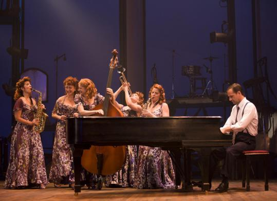 "From left: Diana DiMarzio, Donna McKechnie, Lauren Molina, Jane Pfitsch, Jessica Tyler Wright, and Malcolm Gets in the Williamstown Theatre Festival production of ""Ten Cents a Dance.''"