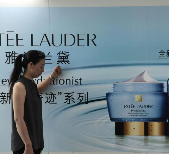 In fiscal 2012 and beyond, Estee Lauder predicts, its greatest growth will be in emerging markets, especially China, in travel retail, and online. Above, a company ad in Shanghai.