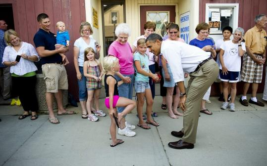 President Obama, in Zumbrota, Minn., began a three-day swing yesterday that will also include stops in Iowa and rural Illinois.