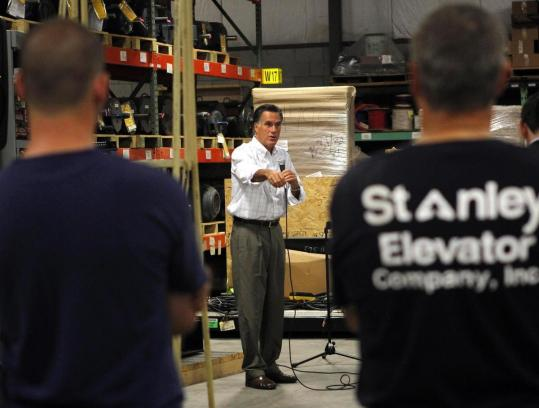 Republican presidential candidate Mitt Romney addressed employees yesterday at Stanley Elevators in Merrimack, N.H.