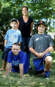 Elena McHugh and her sons (from left) Max, Matt, and Mike. For the whole family she emphasizes ''healthy choices.''