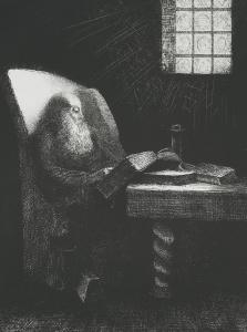 'The Reader' by Odilon Redon is a print made of his teacher and friend Rodolphe Bresdin.
