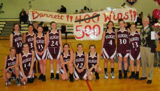 West Bridgewater High girls' basketball coach Steve Barrett, who will be inducted into the Massachusetts Basketball Coaches Hall of Fame this fall, has celebrated quite a few achievements with his players, including reaching the 500-win mark last season.