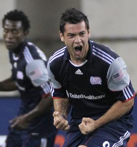 The Revolution's Milton Caraglio is psyched after one of his goals Saturday.
