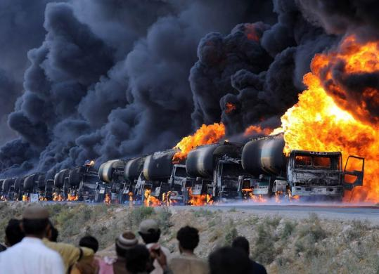 Oil tankers that were set on fire yesterday by gunmen in Pakistan were carrying fuel to NATO forces in Afghanistan.