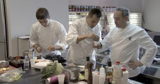 "From left: Eugenio de Diego, Oriol Castro, and Ferran Adrià in ""El Bulli: Cooking in Progress,'' a documentary about Adrià's renowned Spanish restaurant."