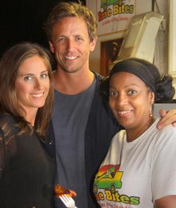 From left: Alexi Ashe, Seth Meyers, and Melody Cunningham at Irie Bites.
