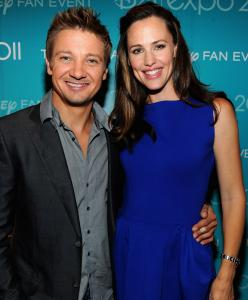 Actors Jeremy Renner and Jennifer Garner in Anaheim, Calif.