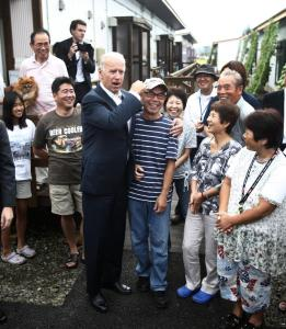 Vice President Joe Biden met yesterday with survivors of the island's recent earthquake and tsunami at a temporary shelter in Natori, one of the hardest-hit cities, in northeastern Japan. The visit is aimed at highlighting strengthened ties with Japan. Biden was on the final leg of an eight-day trip to Asia.