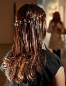 The waterfall braid modeled at Salon Capri in Dedham.