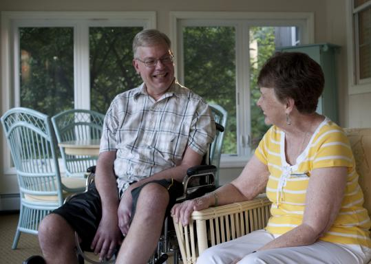 Barbara Swansburg and Richard Heidbreder chat during a visit at the Sawtelle Family Hospice House in Reading, where Heidbreder is a patient.