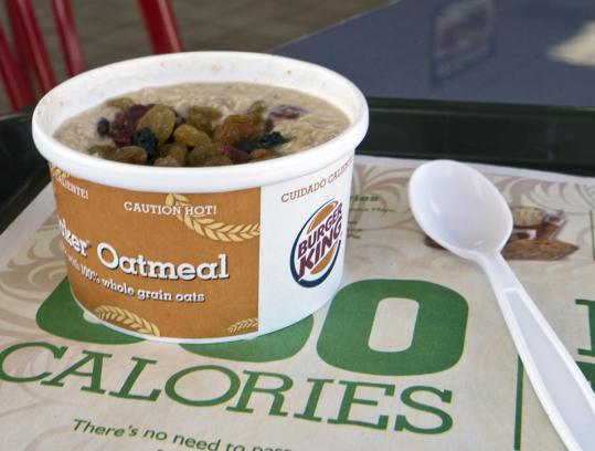 Adding oatmeal is an attempt by Burger King to catch up to rivals and expand its appeal beyond burgers and fries.