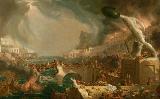 """Thomas Cole's """"The Course of Empire: Destruction,'' part of his five-painting series that opens the """"Painting the American Vision'' show at Peabody Essex Museum."""