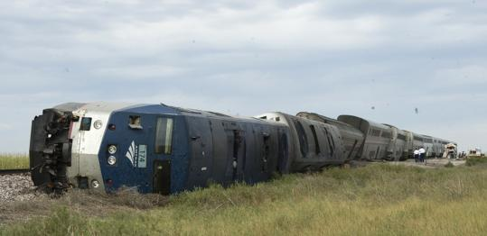 The train struck equipment on the tracks in Nebraska near the Kansas and Colorado borders. It was unclear how fast the train was going at the time.