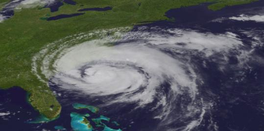 A satellite image taken at 5:45 p.m. yesterday showed Hurricane Irene as it moved northward along the East Coast. Rain from the storm should arrive late tonight.