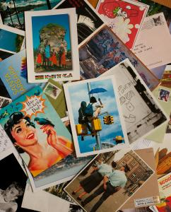 A sampling of the postcards that Lindsey Warriner has received over the past year.
