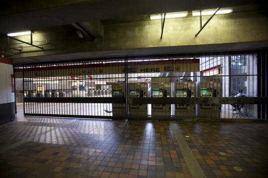 The Alewife T Station was empty as the MBTA shut service at 8 a.m. yesterday because of Tropical Storm Irene.