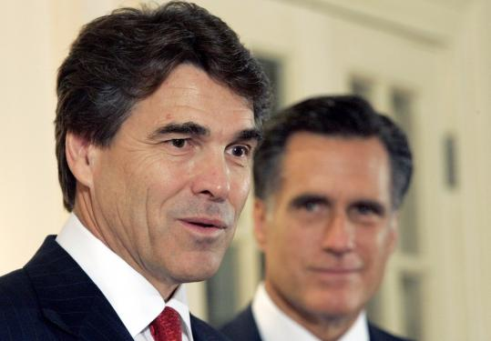 Texas Governor Rick Perry (left) suggested that Mitt Romney (right) caved in to pressure from gay rights groups.
