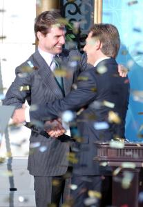 Tom Cruise (pictured, with church leader David Miscavige in 2004) and John Travolta are followers of Scientology, founded by L. Ron Hubbard.