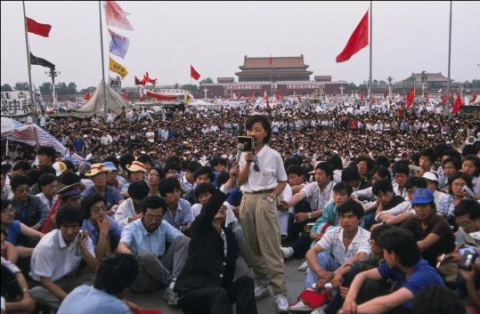 'My fight for China started long ago,' said Chai Ling, shown addressing protesters in Beijing.