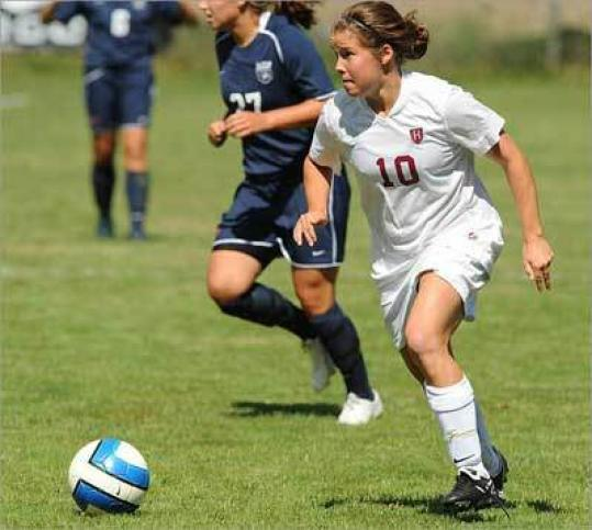 'She was committed enough to make up the ground she lost by playing another sport. And that's the kind of person she is,'' said Ray Leone, Harvard women's soccer coach, of Framingham native Melanie Baskind.