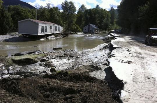 Destruction was severe along Route 100 in Pittsfield, Vt., after Hurricane Irene passed through on Sunday. The photographer, Marc Leibowitz, was married nearby the previous day, and remained stranded with his bride and 60 of their wedding guests yesterday.