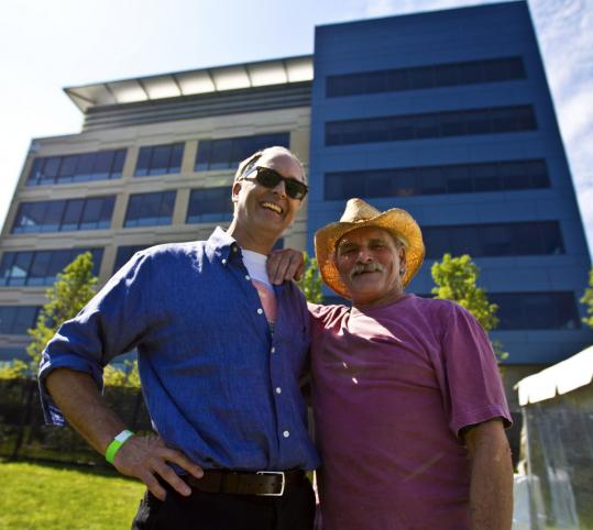 Forrester Research's George Colony (left) with Dickey Betts yesterday.
