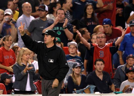 Umpire Ed Rapuano changed his call in Wednesday's Red Sox-Yankees game.