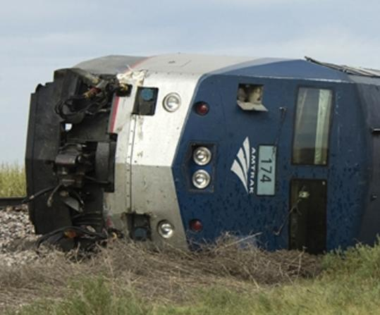 An Amtrak train sits derailed in rural Nebraska on Aug. 26.