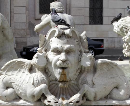 A vandal attacked the Moor Fountain in Rome's Piazza Navona on Saturday morning. The damaged statue's pieces have been recovered and can be reattached, an official said.