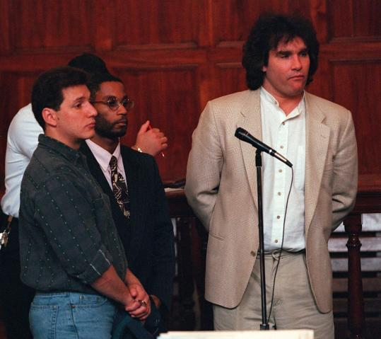 Matthew Stuart (right) was arraigned on drug charges in 1997. Matthew, Charles Stuart's brother, was found dead Saturday.