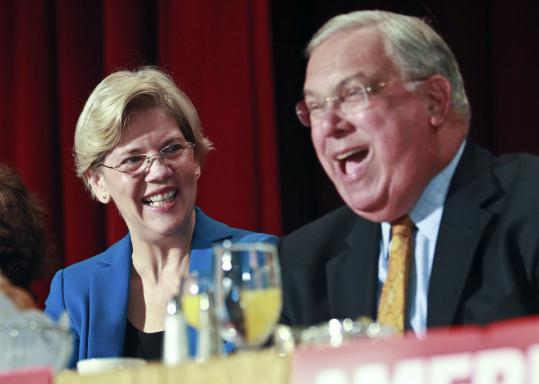 Elizabeth Warren, possible Senate candidate, spoke with Mayor Thomas M. Menino at the Greater Boston Labor Council's Labor Day Breakfast at the Park Plaza Hotel in Boston.